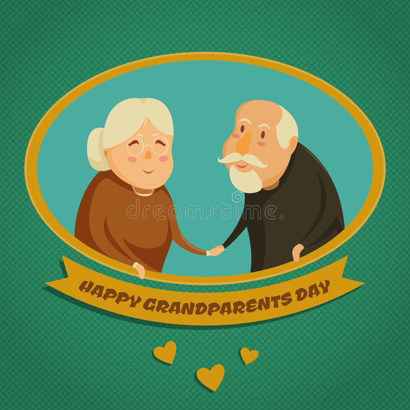 Happy grandparents holding hands. Happy grandparents day poster. Vector illustration in cartoon style royalty free illustration