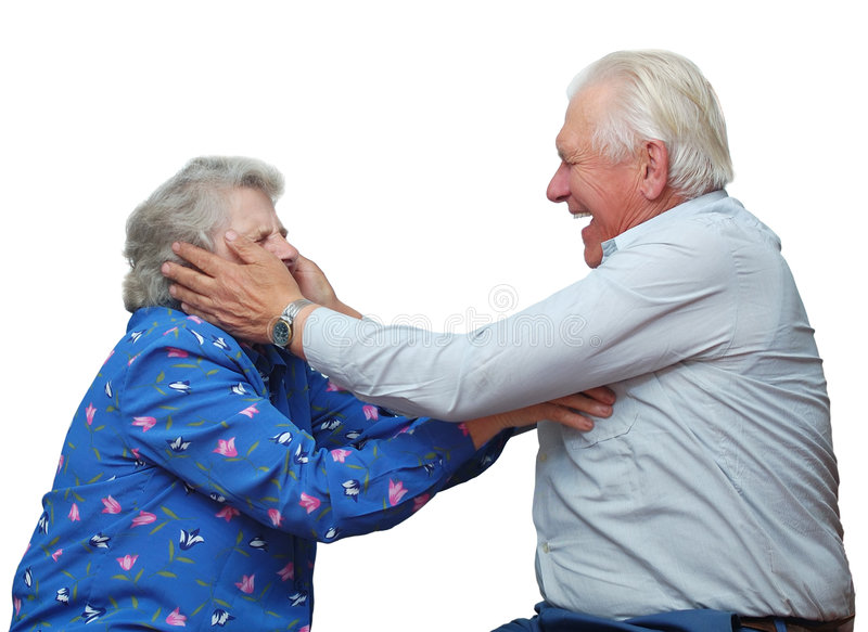 Happy grandparents play the fool stock image