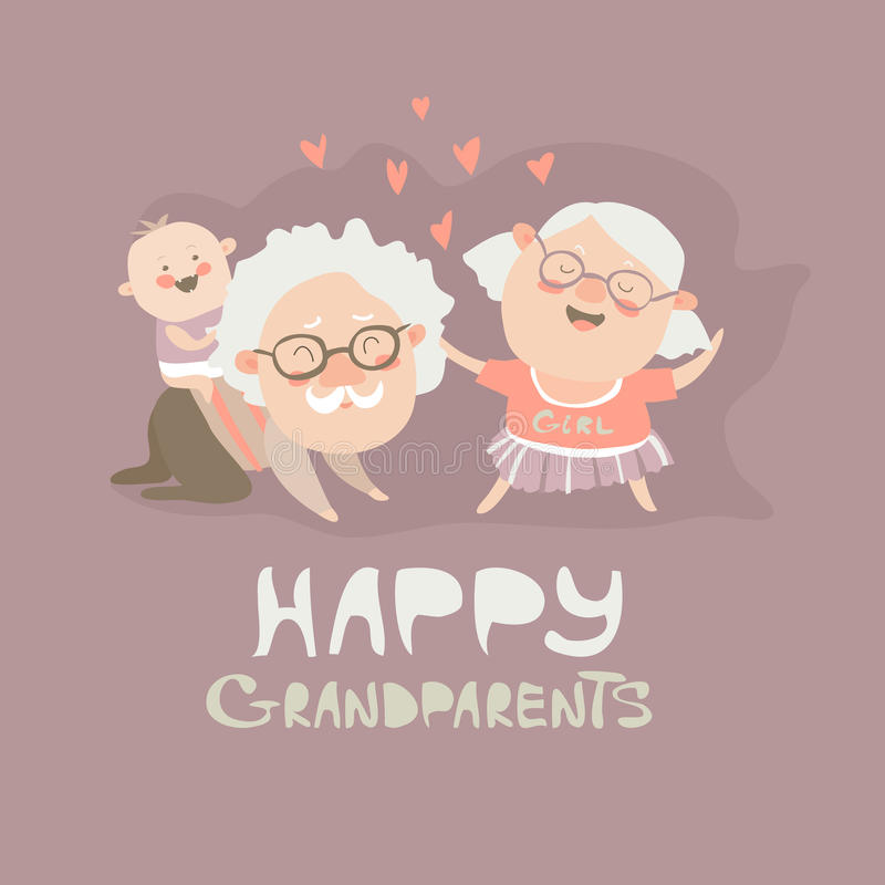 Happy grandparents playing with their grandson. Vector illustration stock illustration