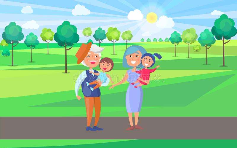 Happy Grandparents Senior Couple Holding Children. On hand, grandpa and grandma with kids on background of green trees in park vector illustration stock illustration
