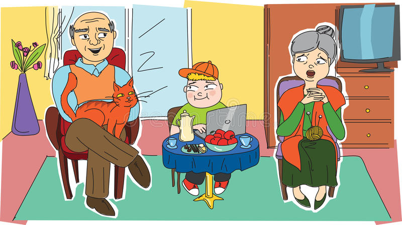 Happy grandparents and their grandchild royalty free stock image