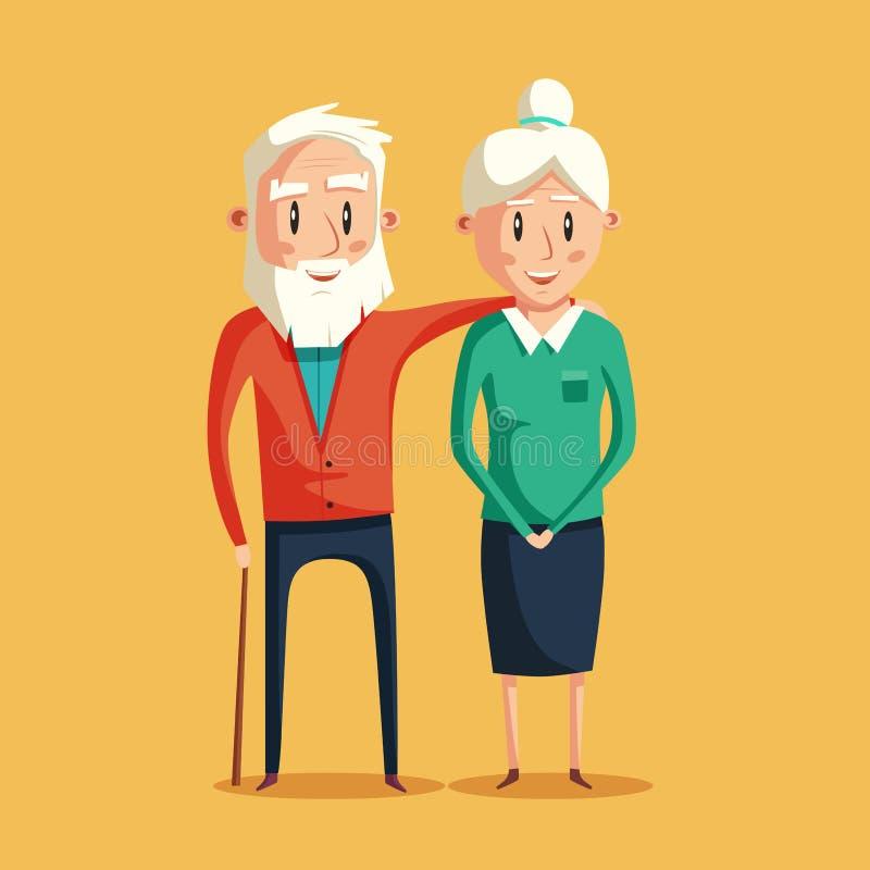 Happy grandparents. Vector cartoon illustration. Grandparents day. Grandpa and grandma standing full length smiling. Elderly couple. Love stock illustration