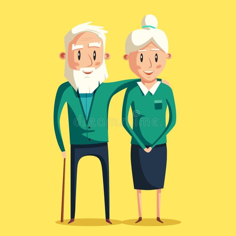 Happy grandparents. Vector cartoon illustration royalty free illustration