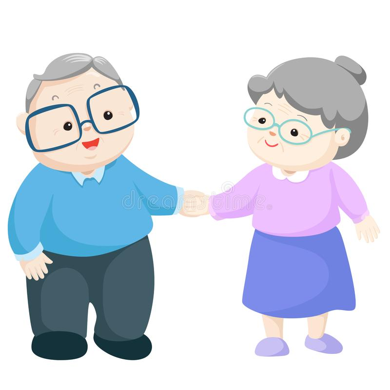 Happy grandparents vector. Happy couple grandparents hold hand together vector illustration royalty free illustration