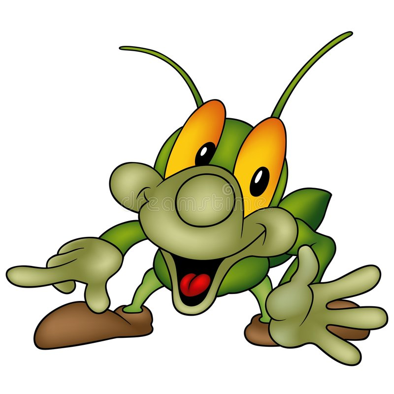 Happy green bug royalty free illustration
