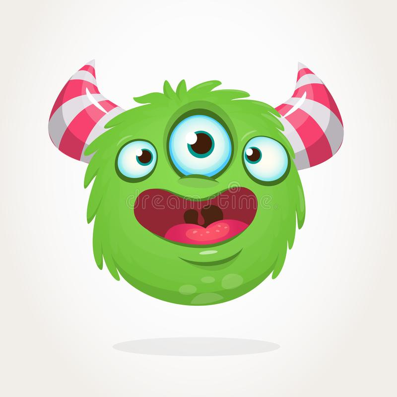 Happy green cartoon alien with three eyes. Smiling monster emotion showing his tongue. Halloween vector illustration. vector illustration