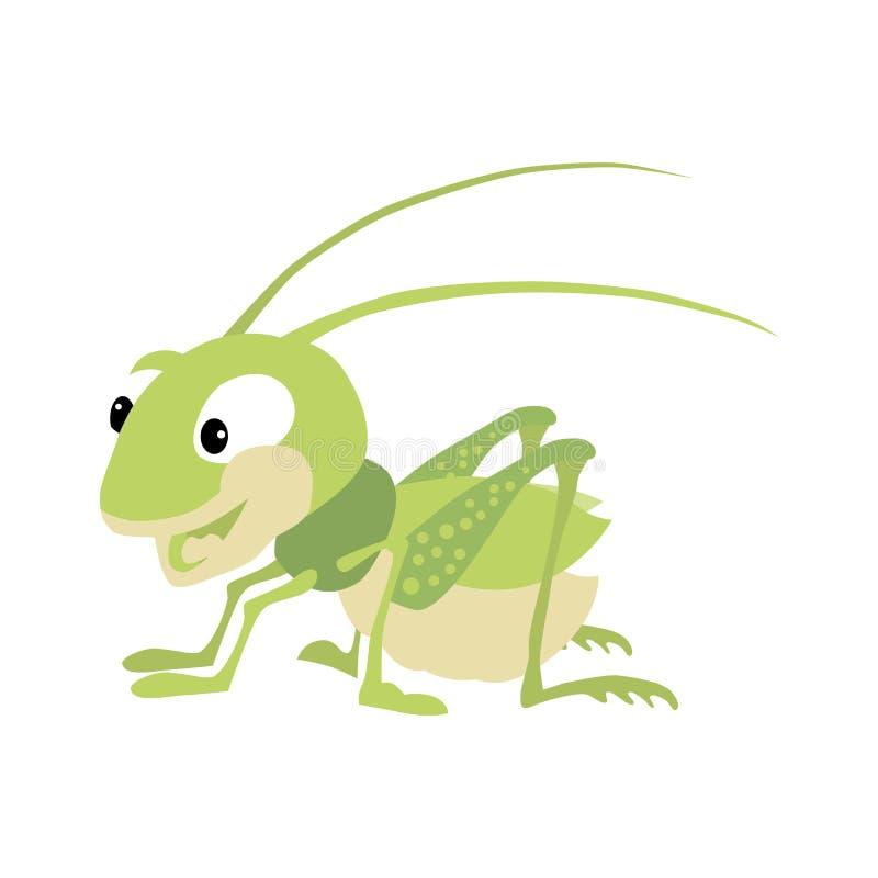 Happy green grasshopper. On a white background vector illustration
