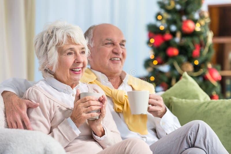 Happy elderly during xmas stock image