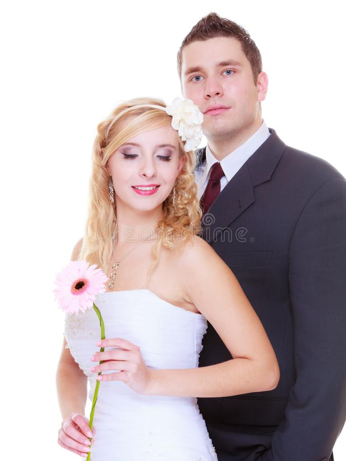 Happy groom and bride posing for marriage photo. Positive relationship couples concept. Happy groom and bride posing for marriage photo waiting for the big day royalty free stock photos