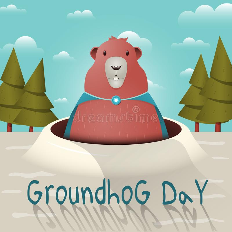 Happy Groundhog Day with a funny groundhog character in a raincoat with a brooch. Vector illustration. A funny groundhog looks out of a mink on a sunny day royalty free illustration