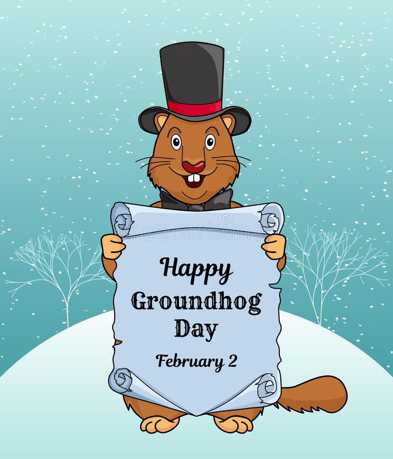 Happy Groundhog day greeting card or a vertical banner. Cartoon design with a cute little beast in a hat and bow tie royalty free illustration