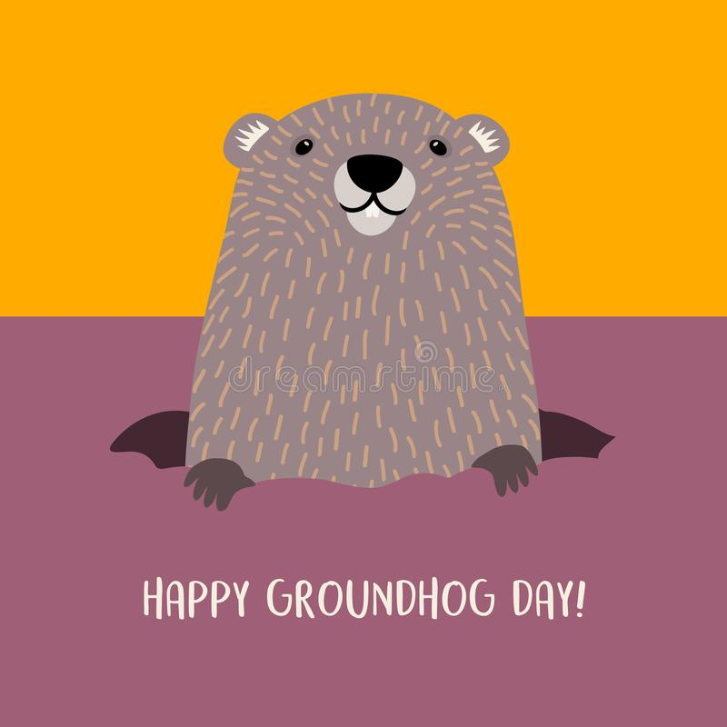 Free Happy Groundhog Day Groundhog Emerging From His Burrow. Royalty Free Stock Photo - 107266015