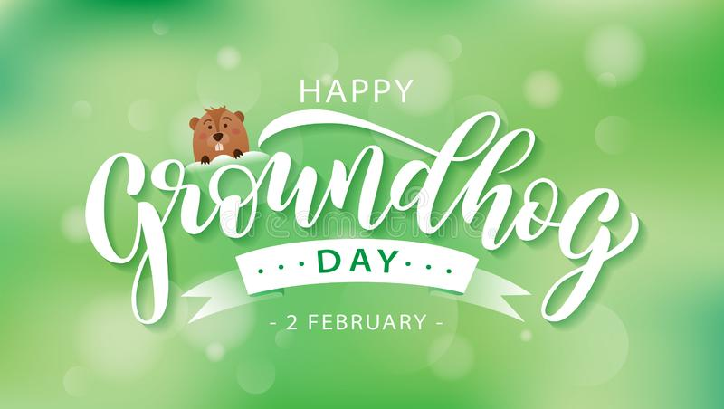 Happy Groundhog Day. Hand drawn lettering text with cute groundhog. 2 February. Vector illustration. Script. Calligraphic design for print greetings card vector illustration