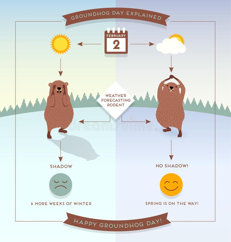 Happy Groundhog Day infographic with cute groundhogs. Happy Groundhog Day infographic flow chart style illustration with cute groundhogs vector illustration