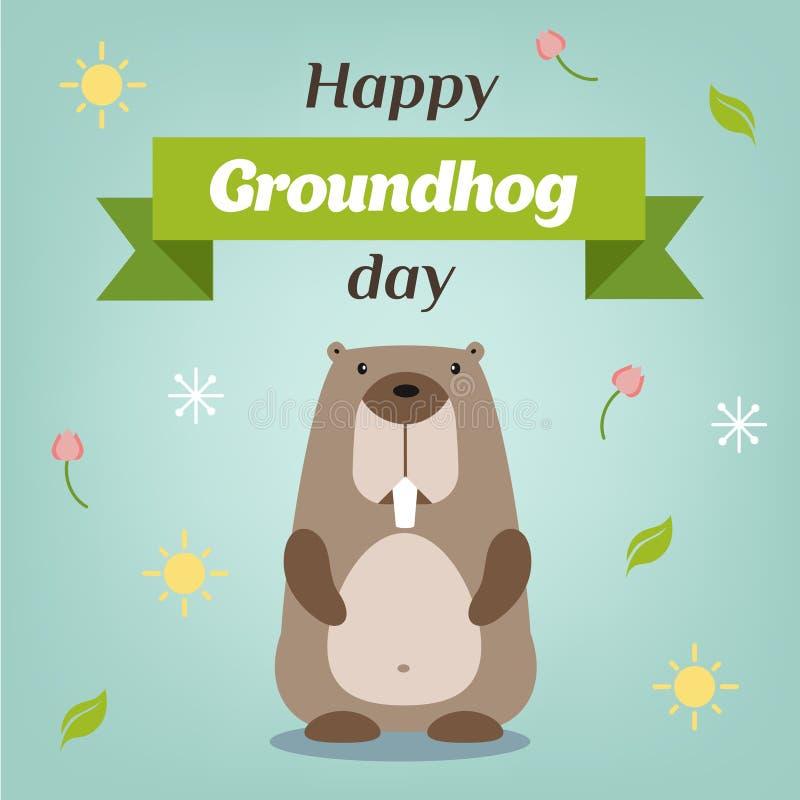 Happy Groundhog Day. Vector illustration with grounhog. stock image