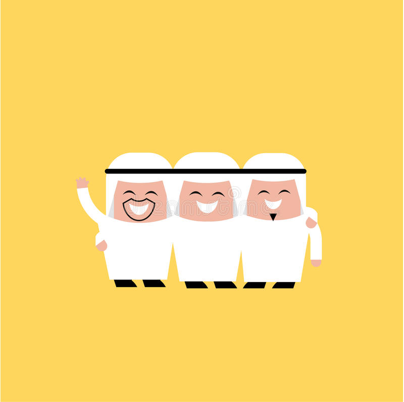 Happy group of Arabic friends vector illustration