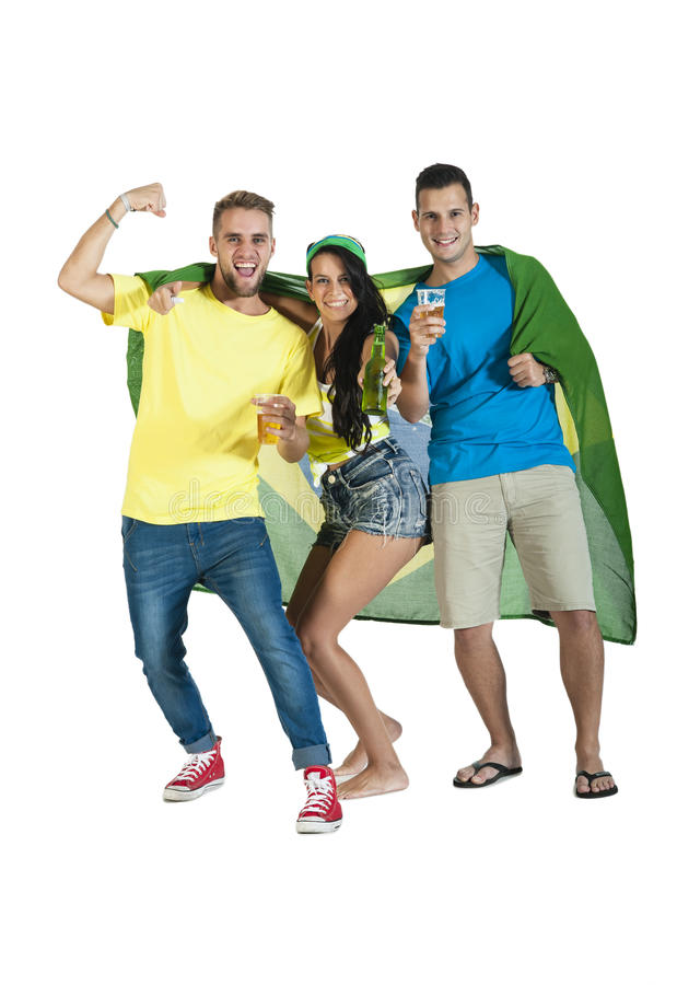 Happy group of Brazil Supporters cheering with Brazil flag. And beers stock photo