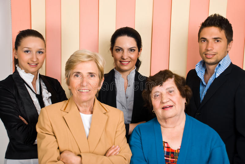 Happy group of business people stock photo