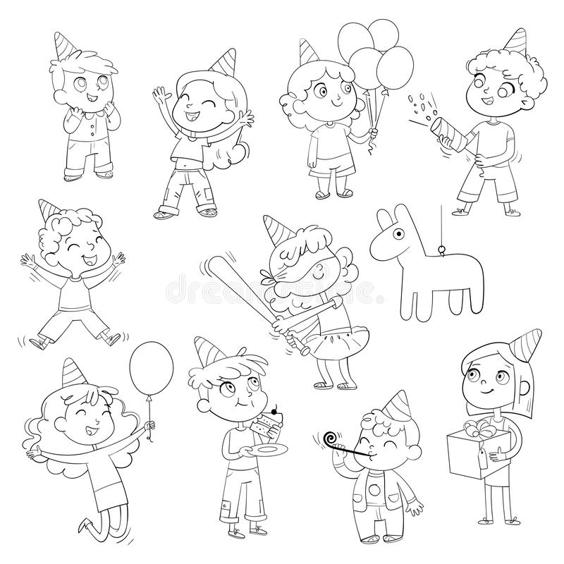 Happy group of children having fun at birthday party. Coloring book. Happy group of children having fun at birthday party. Little girl is going to broke the stock illustration