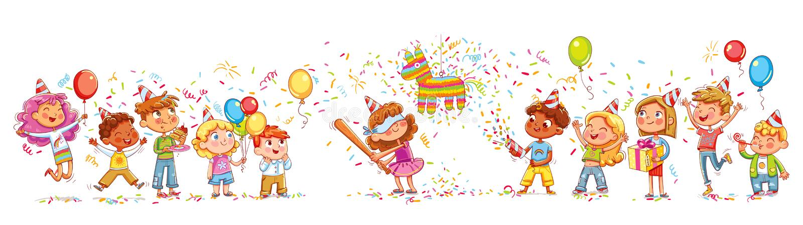 Happy group of children having fun at birthday party. Little girl is going to broke the pinata. Seamless children`s panorama for your design. Template for stock illustration