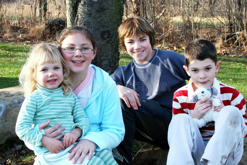 Happy Group of Children Portrait stock images