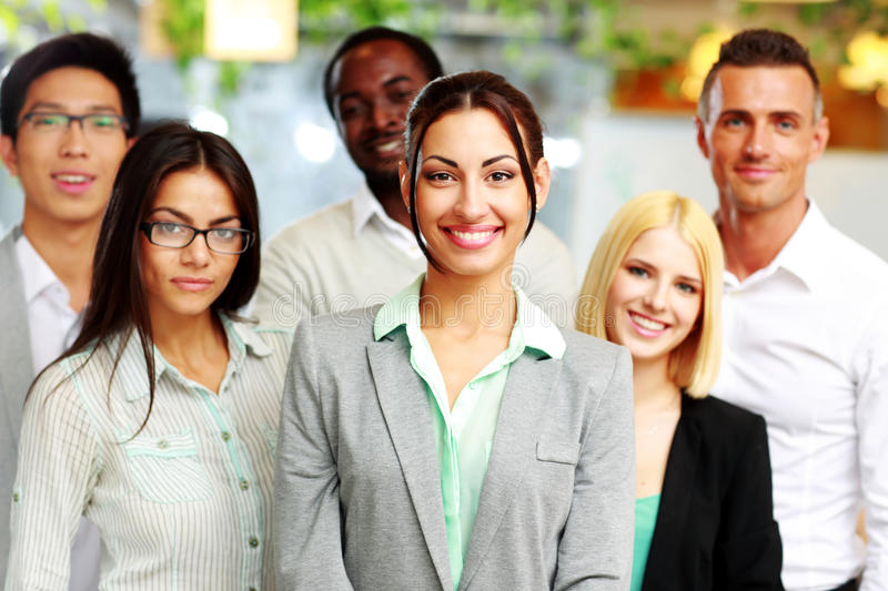Happy group of co-workers royalty free stock photo
