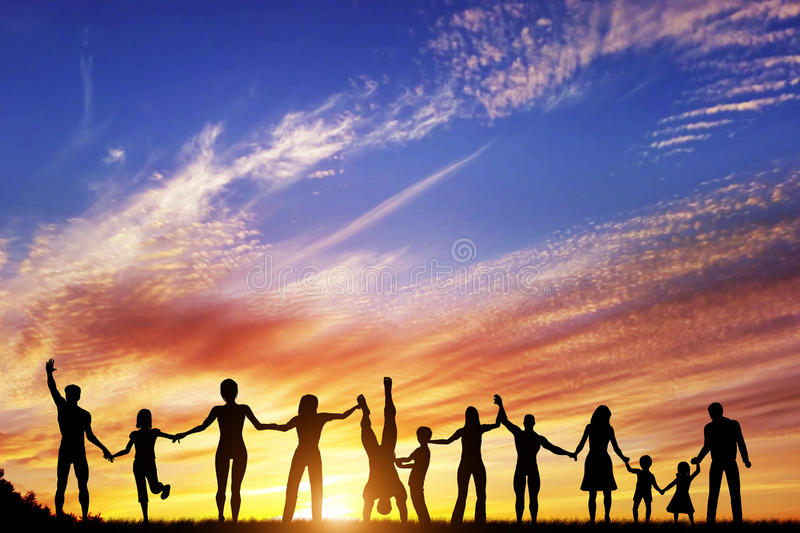 Happy group of diverse people, friends, family together royalty free illustration