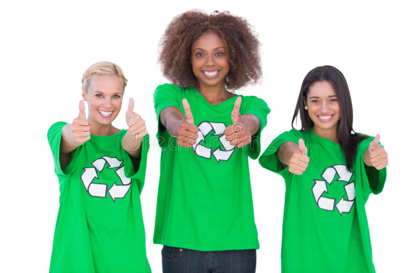 Happy group of enviromental activists giving thumbs up. On white background stock image