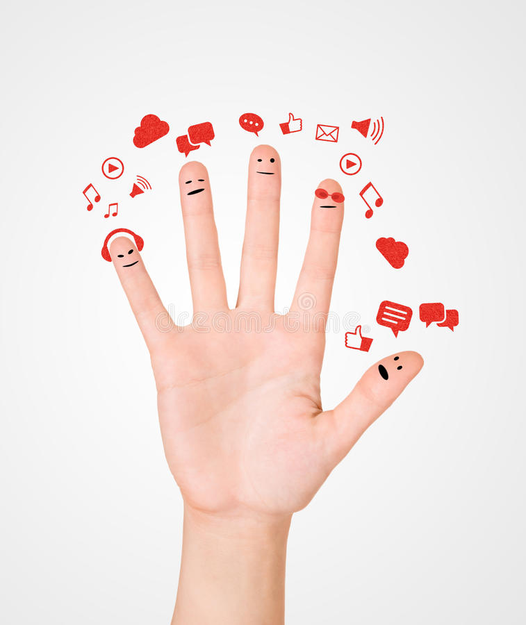 Happy group of finger smileys with social chat sign and speech b royalty free stock image
