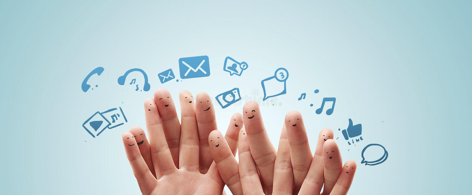 Download Happy Group Of Finger With Social Chat Sign Stock Photo - Image: 24416340