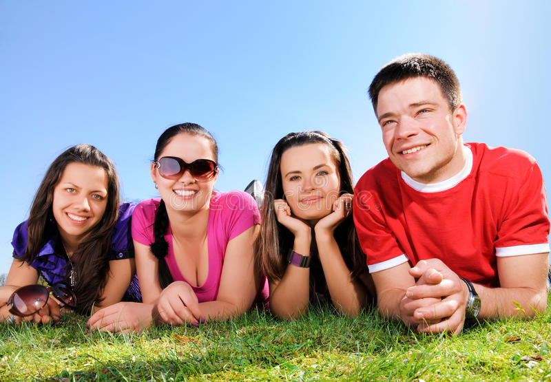 Happy group of friends stock images