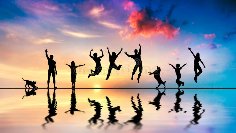 Happy friends, family with dog and cat jumping at sunset stock photography