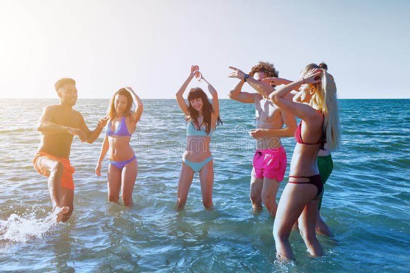 Group of friends having fun on the beach. Concept of summertime royalty free stock images