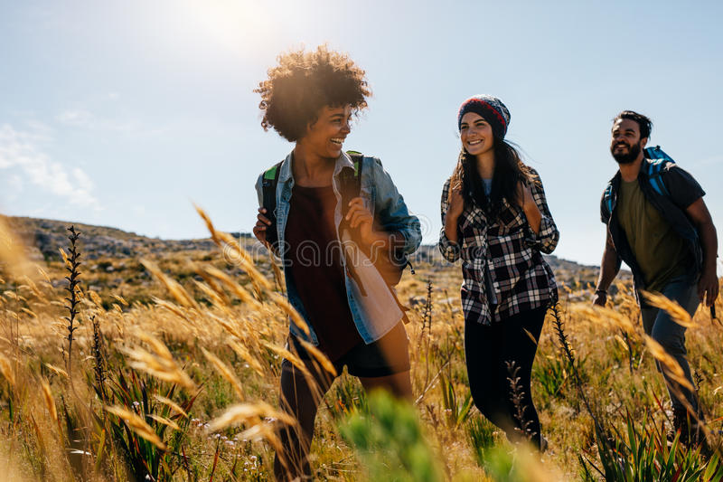 Happy group of friends hiking together royalty free stock images