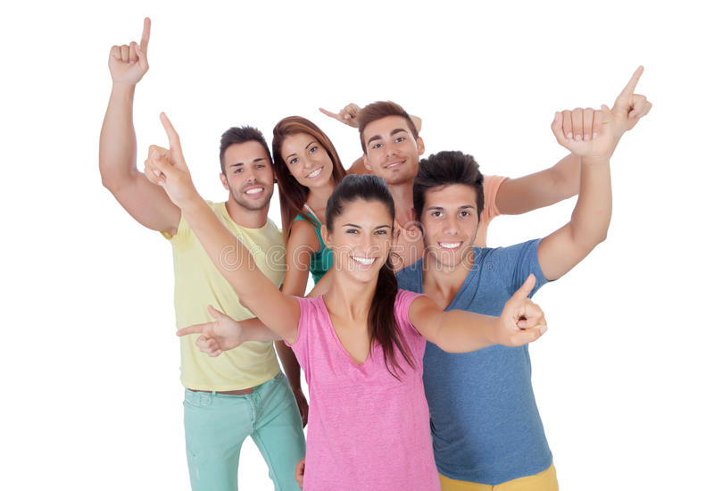 Download Happy group of friends stock photo. Image of finger, friendly - 34050674