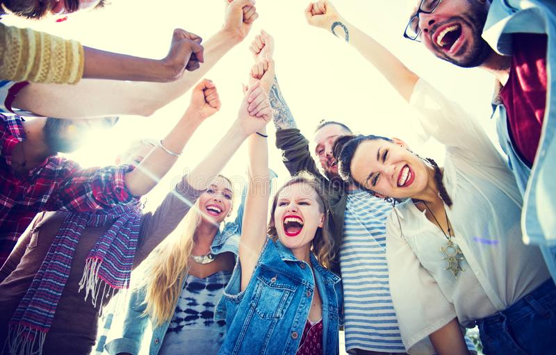 Happy group of friends party stock image