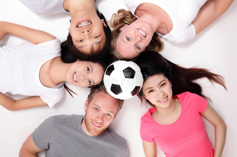 Happy Group of friends with soccer royalty free stock photos