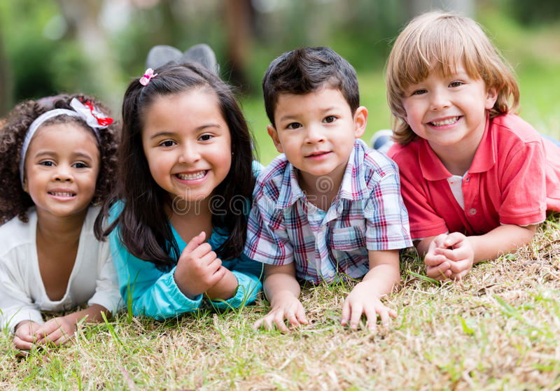 Download Happy group of kids stock photo. Image of park, playful - 33213986