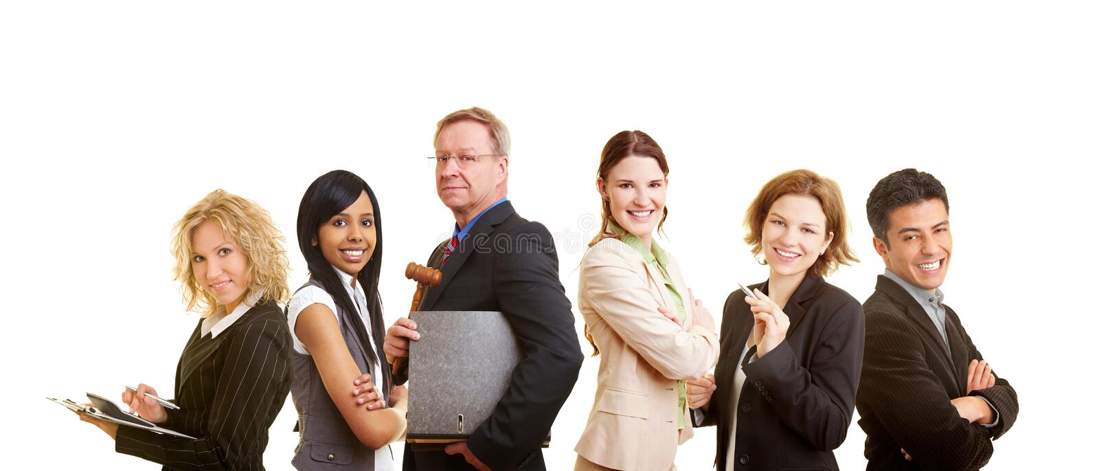 Happy group of lawyers stock photo