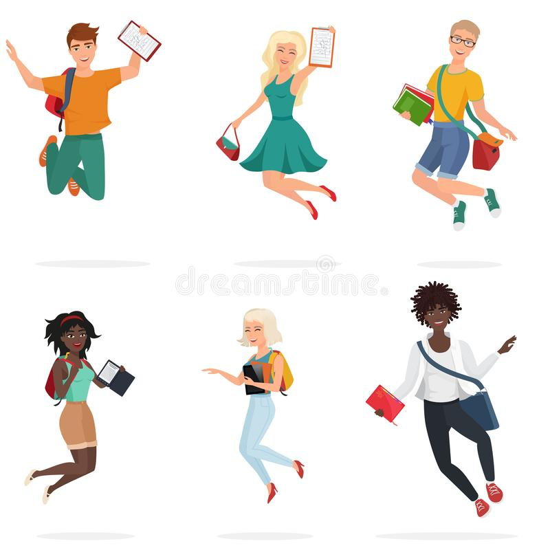 Happy group of multi ethic students friends jumping. Cartoon young people character Vector illustration. Happy group of multi ethic students friends jumping royalty free illustration