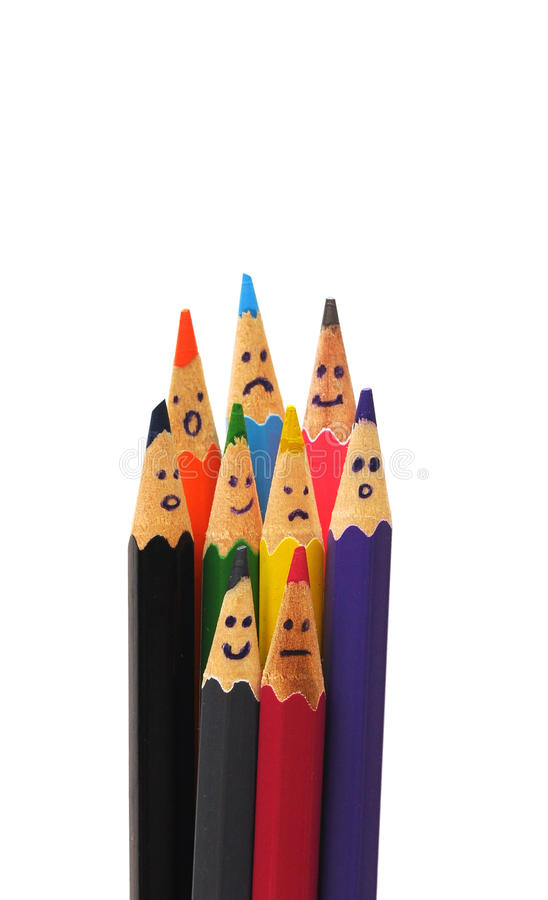 Happy group of pencil faces as social network