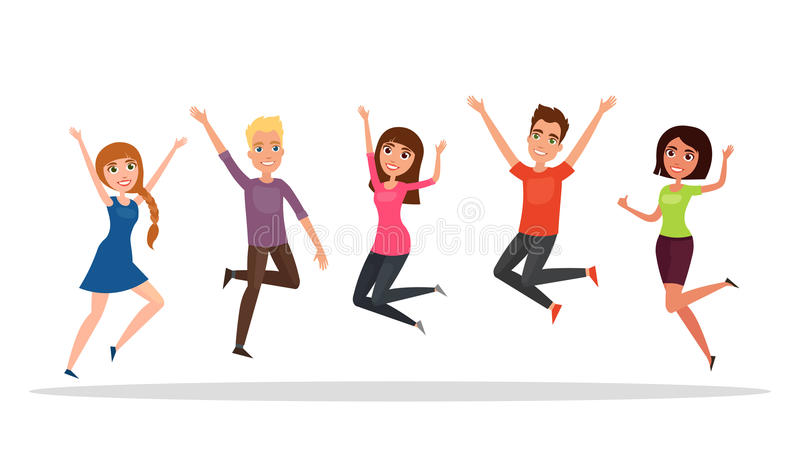 Happy group of people, boy, girl jumping on a white background. The concept of friendship, healthy lifestyle, success. Vector illu. Stration in a flat and royalty free illustration