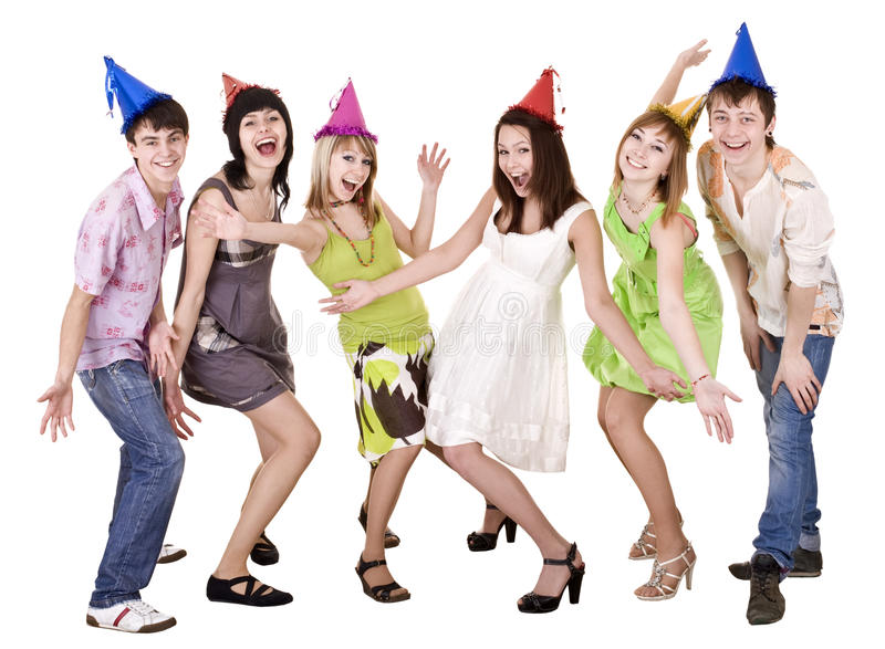 Happy group of people celebrate birthday. . stock photography
