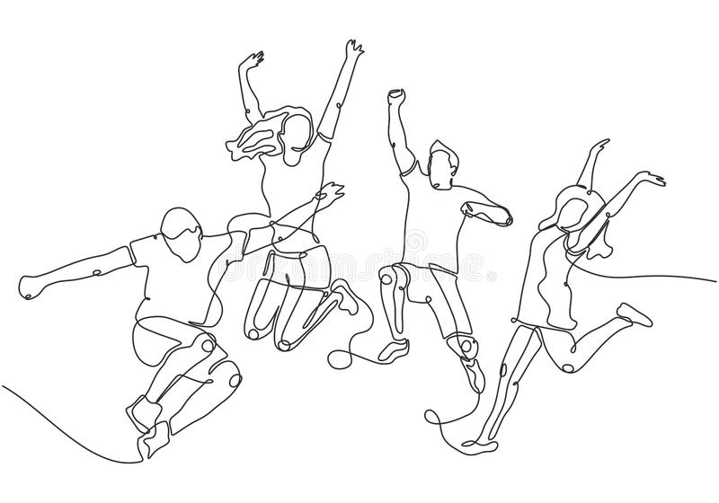 Happy group of people jumping on a white background. The concept of friendship, healthy lifestyle, success. Vector illustration in. One continuous line drawing stock illustration
