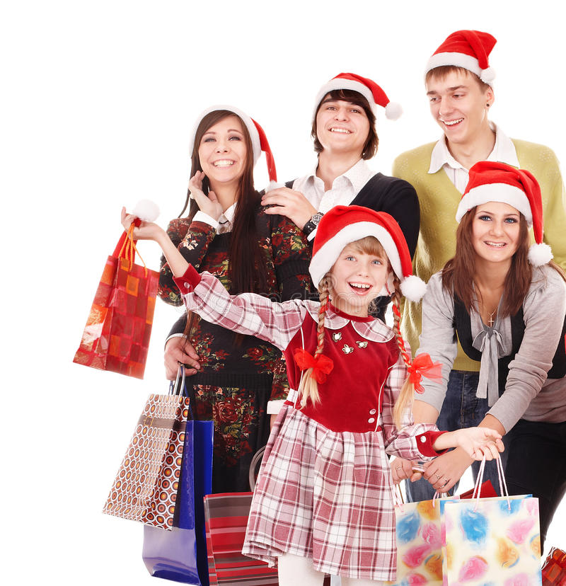 Happy group people in santa hat . royalty free stock photo