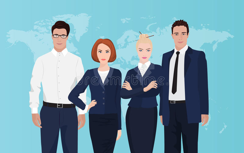 Happy group portrait of a professional business team on world map background. stock illustration