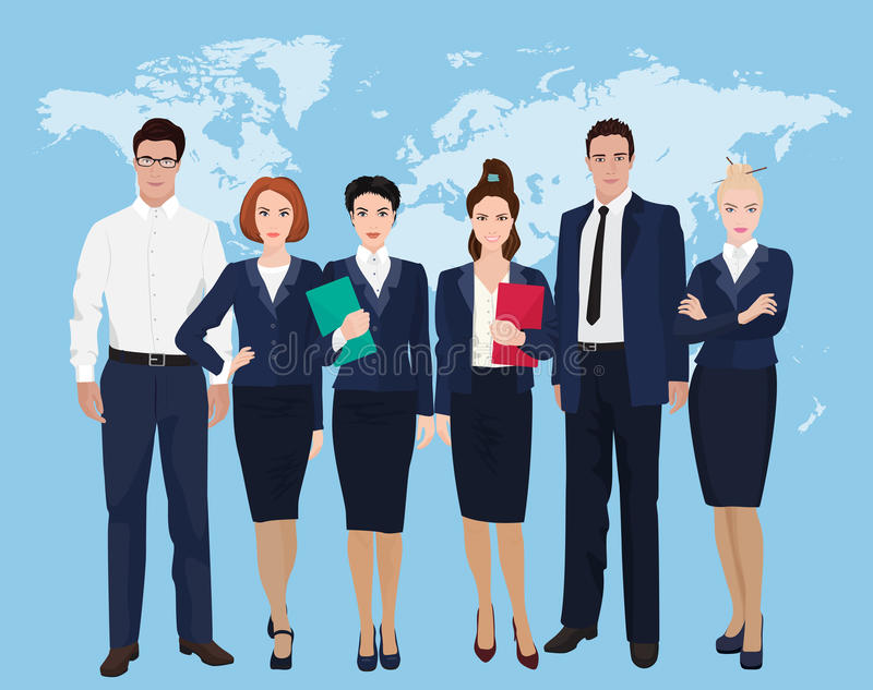 Happy group of a professional business team standing over on world map background. stock illustration