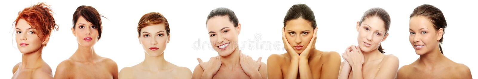 Happy group of of caucasian young woman royalty free stock photography