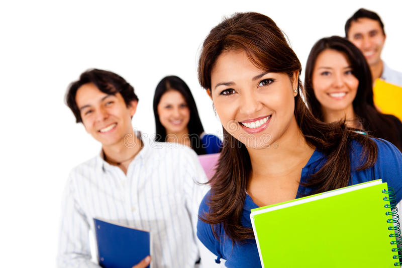 Download Happy group of students stock image. Image of notebooks - 24512221