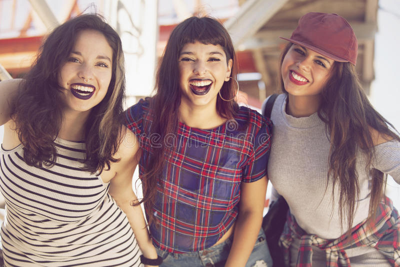 Happy group of teen friends royalty free stock photo